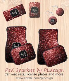 Red sparkles car mat set, license plate, air freshener and more by #PLdesign #RedSparkles #SparklesGift