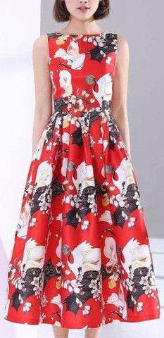 Bird & Floral Print Midi Dress