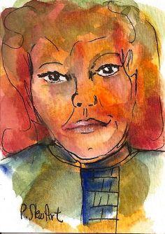 ACEO Face Redhead Loose Style Portrait Watercolor pen Original SFA Penny StewArt http://www.craftlady.com