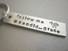 Twitter Handle Keychain - Hand Stamped Follow Me @LisaLFlowers