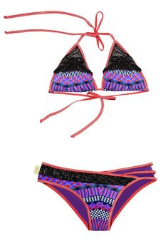 Mar de Rosas 2016  Mar de Gaviota Bikini -One of the best features of this bikini are the contemporary cut out bottoms. This alluring print accented with intricate hand beading across the front of the bikini bottoms look even better against the skin with these sensual cut-outs on the hip. #2016swimwear
