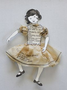 Little paper girl by - Made of tissue paper from old patterns