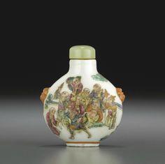 Porcelain Snuff Bottles | Lot 6012. A famille rose enameled porcelain snuff bottle, Jingdezhen ...