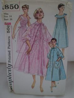 1950s Negligee Peignoir Pattern Simplicity