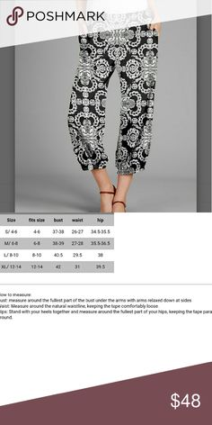 COMING SOON! S-XL Arabesque Crop Pants So cute for Spring and summer! Easy, comfortable style.  24 in inseam for sz small.  See pic 2 for size chart. 95%polyester 5%spandex. Imported.  Machine wash. firmiana Pants Capris