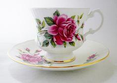 Elizabethan Staffordshire, Tea Cup and Saucer, June Tea Cup, Fine Bone China, Rose Tea Cup