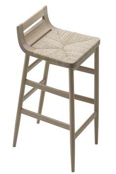 Kimua High stool - Straw seat Natural oak by Alki
