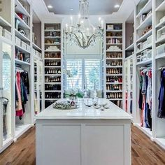 Here's a closet to sink your teeth into this morning: when designing your closet, make sure you have enough short, medium and long hanging! Doors can also add functional and aesthetic value to your space! This is your space--make it fun and add your personality! #closetdesign #LAtips