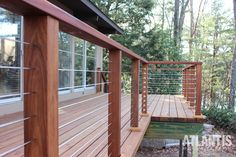 Wood Patio Railing Outdoor Spaces Ideas For 2019 Wire Deck Railing, Deck Railing Systems, Deck Railing Design, Deck Design, Outdoor Railings, Cable Railing, Railing Ideas, Cedar Deck, Cedar Wood