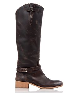 Rowdy distressed leather boot in Brown. Made in Italy. #charlesdavid #boots #shoe #leather #madeinitaly