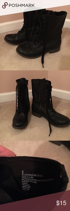 Black lace up boots Black lace up boots with side zipper. Size 6 Target Shoes Combat & Moto Boots
