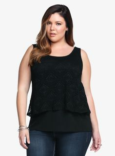Ready to be the new 'it' girl. Lace is the way to do it. This black crochet crop top has a fun geometric design that overlays a soft knit tank. This casual, feminine look is the perfect touch for adding flattering appeal to your weekend wardrobe.