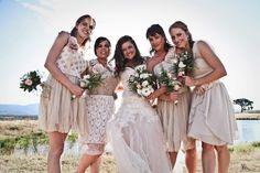 mismatched bridesmaids, nude neutral lace wedding handmade alanadesign bride dress gown summer flowers