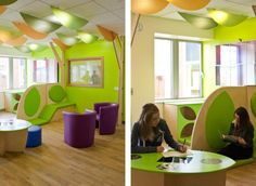 Teen waiting room in a hospital/clinic with colourful seating near London; picture 1 of 9 Pinned by Gail Zahtz