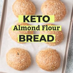 These Keto Bread Rolls are perfect for sandwiches, burgers, or simple to enjoy with butter or to soak up sauces. These low carb rolls are made with high fiber psyllium husk and almond flour. Best Keto Bread, Low Carb Bread, Low Carb Keto, Low Carb Recipes, Low Carb Bun, Lowest Carb Bread Recipe, Comidas Light, Almond Flour Bread, Peanut Butter Bread