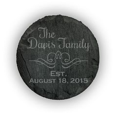 Round Slate Coasters (set of 4)  - Rochester Script Design Personalized