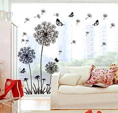 ufengke® Black Dandelions and Butterflies Flying In The Wind Wall Decals, Living Room Bedroom Removable Wall Stickers Murals ufengke®-wl http://www.amazon.ca/dp/B00LFPCA4S/ref=cm_sw_r_pi_dp_P7-2vb0BZ09DE
