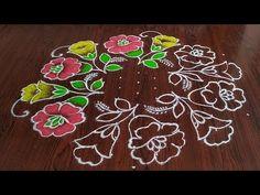 beautiful flower design rangoli Easy chukkala muggulu Sankranthi special kolam Thanks for watching 🙏🙏 Please like sh. Indian Rangoli Designs, Rangoli Designs Latest, Simple Rangoli Designs Images, Rangoli Designs Flower, Rangoli Patterns, Rangoli Border Designs, Rangoli Designs With Dots, Flower Rangoli, Rangoli With Dots