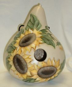 Sunflower Gourd Birdhouse  Hand Painted by FromGramsHouse on Etsy
