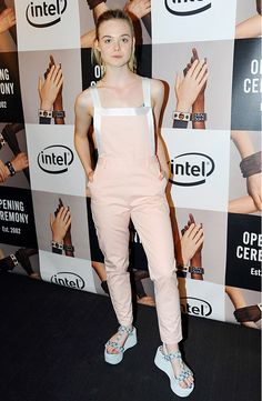 Elle Fanning wears overalls to Opening Ceremony after-party  // #NYFW #SS15