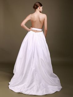Deep-V Backless Wedding Gown with 3D Flower