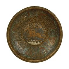 Basin with knight End of century x x cm Provenance unknown Copper with 'champlevé' enamel decoration Medieval Art, Renaissance Art, Ottoman Turks, 15th Century, Roman Empire, Byzantine, Middle Ages, Basin, Vikings