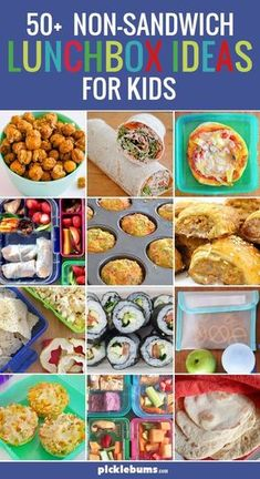 Huge list of non-sandwich lunchbox ideas for kids! Perfect for when your kids are tired of PBJs every day at school.