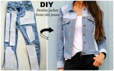 DIY: Denim Jacket from old jeans featuring Named Clothing Maisa Denim Jacket Pattern...