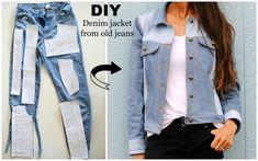 DIY: Denim Jacket from old jeans featuring Named Clothing Maisa Denim Jacket Pattern...