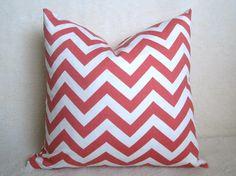 Chevron Decorative Pillow - Salmon - Coral - PInk - White - 16 inch - BOTH SIDES - Zig Zag Pillow - Pink Pillow - Throw Pillow. $20.00, via Etsy.