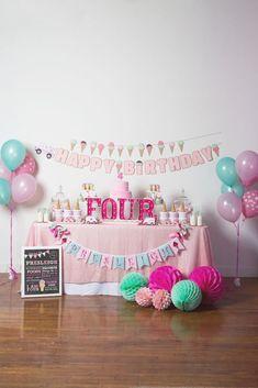 Ice cream party spread form an Ice Cream Parlour Birthday Party via Kara's Party Ideas KarasPartyIdeas.com (58)