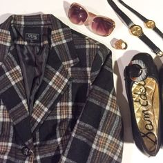 Speak 2 Me Vintage Black and Yellow Plaid Blazer This vintage blazer has plaid made of black, yellow and white. With its classical look it's a must have for any closet. Speak 2 Me Jackets & Coats Blazers