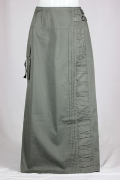 Buckle Down Emerald Olive Long Skirt