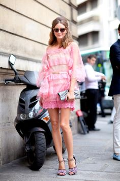 Olivia Palermo in a pink valentino dress