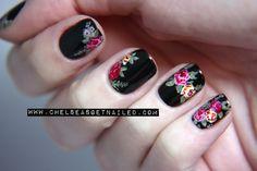 Beautiful floral nail art.