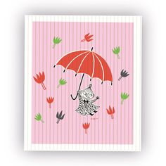 Moomin dishcloth with a lovely illustration by Tove Jansson. 18 x 18 cm. Colour: Pink.