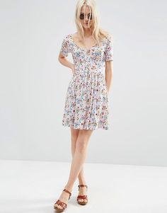 Image 4 ofASOS Tea Dress in Pretty Floral Print