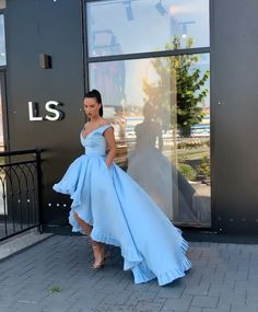 Modern A line High Low Off the Shoulder Blue Long Prom Party Dress Pretty Prom Dresses, High Low Prom Dresses, Prom Dresses Blue, Prom Party Dresses, Dance Dresses, Ball Dresses, Elegant Dresses, Homecoming Dresses, Beautiful Dresses
