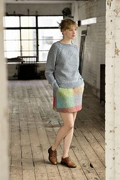 """""""Brannagh"""" is at first glance a simple pullover, but look closer and you'll see the cabled raglan edge and center lace detail! Knit with balls of Felted Tweed and size and 5 needles. Design by Marie Wallin. Rowan Knitting, Rowan Yarn, Knitting Sweaters, Rowan Felted Tweed, Crochet Magazine, How To Start Knitting, Sweater Weather, Long Sleeve Sweater, Knit Crochet"""