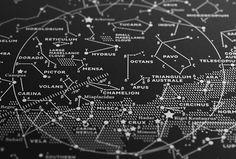 Silkscreen Print: Map II – The Southern Sky (Silver-White / Black) — stellavie design manufaktur $80