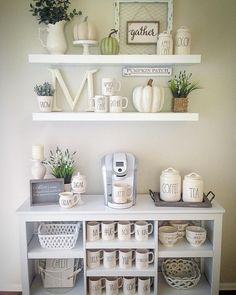 (@home_sweet_homedecor) mug display farmhouse shelves Rae Dunn mugs canister target bookcase coffee bar autumn fall farmhouse decor