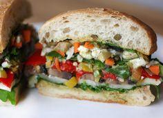 lisa is cooking: Vegetarian Muffuletta Muffuletta Sandwich, Olive Salad, Veggie Dinners, Cauliflower, Sandwiches, Lisa, Veggies, Vegetarian, Cooking