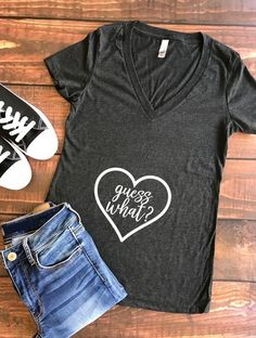 Guess What? (V-Neck) | Pregnancy Announcement Top, pregnancy announcement shirt, preggers, preggo, new mommy, future mommy, mommy to be shirt, mama bear