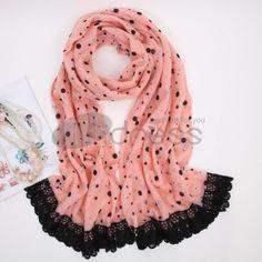 Wool Scarves-Ladies Stylish length flocking warm scarf