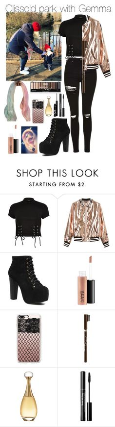 """Clissold park with Gemma"" by littleharmonythedirection ❤ liked on Polyvore featuring River Island, Sans Souci, Jeffrey Campbell, MAC Cosmetics, Casetify, NYC New York Color and Christian Dior"