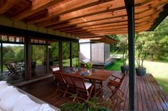 Flat roof modern wooden house in the middle of a forest of Mexico