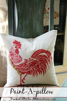 Rooster Paint a pillow.Lots of patterns and styles to choose from. #debbiedoos