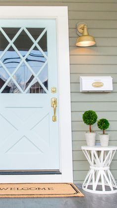 Show off your style as soon as you set foot on your porch. Start with the door and refresh your hardware. Sponsored by Schlage. Home Renovation, Home Remodeling, Adirondack Furniture, Building A Porch, House With Porch, Handmade Home Decor, Porch Decorating, Sweet Home, New Homes