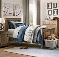 Restoration Hardware Baby and Child has some gorgeous rooms for tween boys!  Ken wood bed full size $849 in gorgeous driftwood finish.  I love everything in this room!