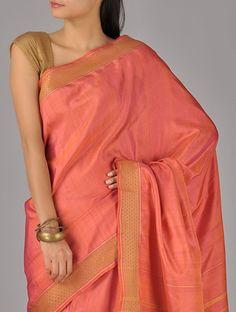 Red and Golden Tusser Honeycomb Border Khadi Silk Saree Simple Sarees, Trendy Sarees, Indian Attire, Indian Wear, Indian Dresses, Indian Outfits, Modern Saree, Indian Look, Tussar Silk Saree